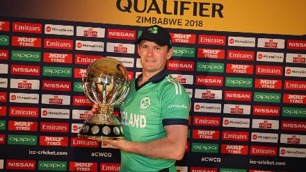 William Porterfield captain of Ireland poses for a picture with the trophy after the ICC Cricket World Cup Qualifier Warm Up match between Zimbabwe and Ireland on February 27, 2018 in Bulawayo, Zimbabwe.