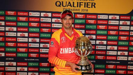 Graeme Cremer captain of Zimbabwe poses for a picture with the trophy after the ICC Cricket World Cup Qualifier Warm Up match between Zimbabwe and Ireland on February 27, 2018 in Bulawayo, Zimbabwe.