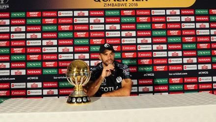Kyle Coetzer at Queens Sports Club press conference.