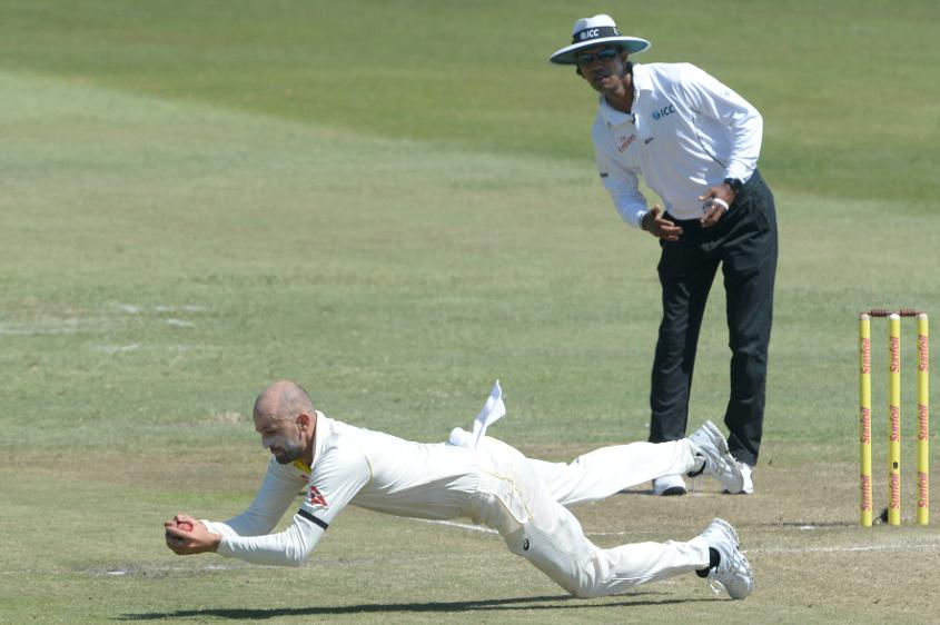 Nathan Lyon took two wickets in the eighth over of South Africa's innings