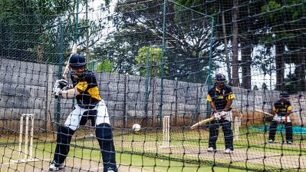 PNG batsman Kiplin Doriga batting in the nets during a training session for Papua New Guinea at Harare Sports Club March 3 2018.