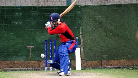 Nepal batsman Dipendra Airee goes through his shots during their training session ahead of their match against host nation Zimbabwe at Queens Sports Club.
