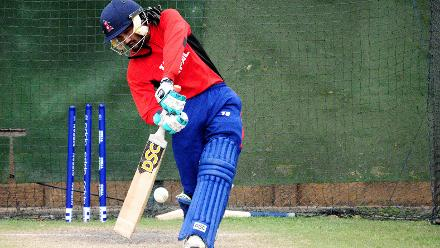 Nepal All-Rounder Dipendra Airee connects with the ball, in the nets during their practice session.
