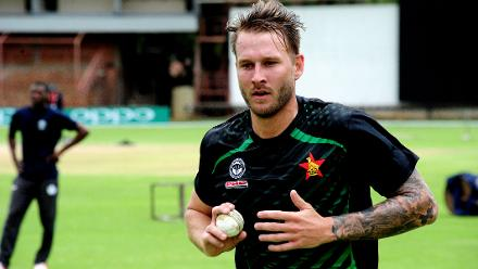 Zimbabwe pace bowler Kyle Jarvis delivers at the nets during bowling practice session.