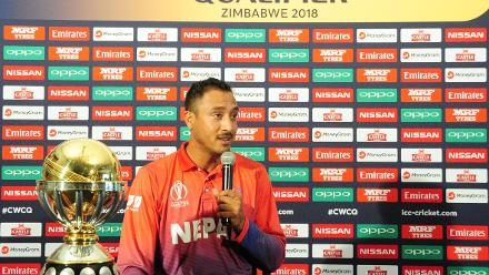 Nepal captain Paras Khadka adresses the press at Queens Sports Club ahead of their match against the hosts Zimbabwe.