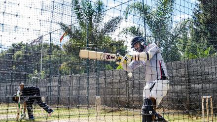 UAE batsman Ahmed Raza goes through his paces during a training session for the United Arab Emirates at Harare Sports Club March 3 2018.