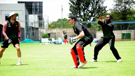 Zimbabwe team prepares for the upcoming ICC CWCQ at Queens Sports Club.