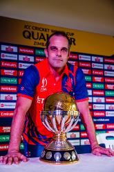 Peter Borren Netherlands captain with the ICC World Cup Qualifier Trophy at Harare Sports Club.