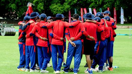 Nepal Cricket Team huddle to discuss strategy ahead of their clash with host nation Zimbabwe.
