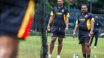 PNG captain watches closely the action in the nets during a training session for Papua New Guinea at Harare Sports Club March 3 2018.