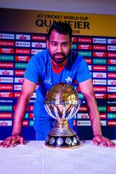 Hong Kong captain Babar Hayat with the ICC World Cup Qualifier Trophy at Harare Sports Club.