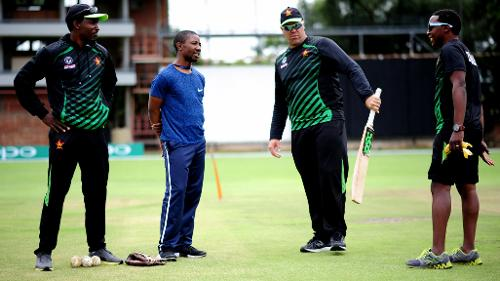 Zimbabwe coaching staff deliberates ahead of practice session at Queens Sports Club.