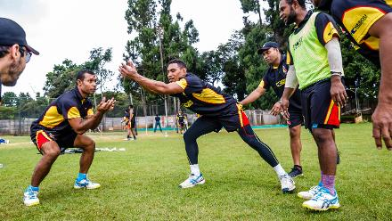 PNG players go through a fielding drill during a training session for Papua New Guinea at Harare Sports Club March 3 2018.