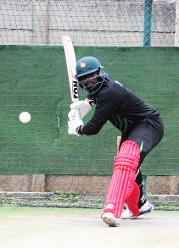 Zimbabwe veteran batsman Hamilton Masakadza plays his shots in the nets during their practice session ahead of their match against Nepal.