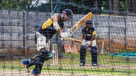 PNG batsman Charles Amini batting in the nets during a training session for Papua New Guinea at Harare Sports Club March 3 2018.