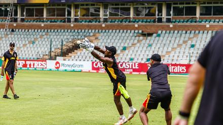 PNG wicket keeper Jack Vare takes a catch during a training session for Papua New Guinea at Harare Sports Club March 3 2018.
