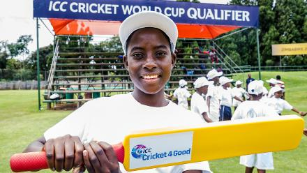 A young lady show off her new kit and a bat from the Cricket for Good sessions after a training session for Papua New Guinea at Harare Sports Club March 3 2018.