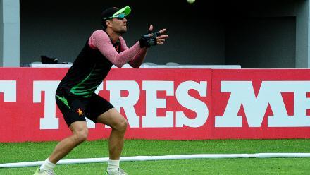 Zimbabwe batsman Craig Ervine focused during catching practice.