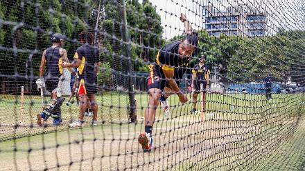 PNG bowler Norman Vanua in action in the nets during a training session for Papua New Guinea at Harare Sports Club March 3 2018.