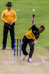 PNG bowler Norman Vanua in action during a group A World Cup Qualifier match between Papua New Guinea and the United Arab Emirates at Harare Sports Club March 4 2018.