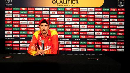 Zimbabwean captain Craig Ervine thanks his fellow team mates and fans for their commitment, drive and contribution to their victory over Nepal in their opening Group B, ICC Cricket World Cup Qualifier in Bulawayo at the press conference, 4 March 2018.