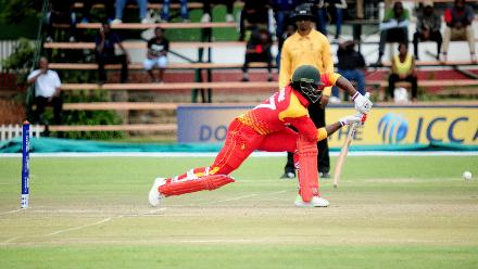 Zimbabwe opening batsman Solomon Mire plays a defensive shot during the opening match of the Group B, ICC World Cup Qualifier at Queens Sports Club in Bulawayo.