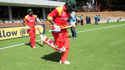 ZImbabwe opening batsmen Solomon Mire infront and Cephas Zhuwao behind ready to take strike of the first ball in their Group B ICC World Cup Qualifier match at Queens Sports Club in Bulawayo against Nepal.