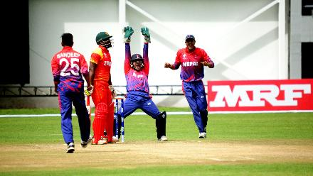 Nepals wicketkeeper Dilip Nath successfully appeals for lbw against Zimbabwe opening batsman Cephas Zhuwao in their Group B ICC World Cup Qualifier match at Queens Sports Club in Bulawayo Zimbabwe.