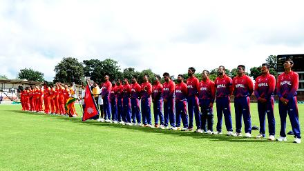 Zimbabwe and Nepal line up for national anthems before their Group B ICC World Cup Qualifier match at Queens Sports Club in Bulawayo March 4 2018.