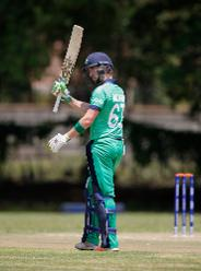 Andrew Balbirnie of Ireland acknowledges his half century during the ICC Cricket World Cup Qualifier between Ireland and The Netherlands at The Old Hararians Ground on March 4, 2018 in Harare, Zimbabwe.