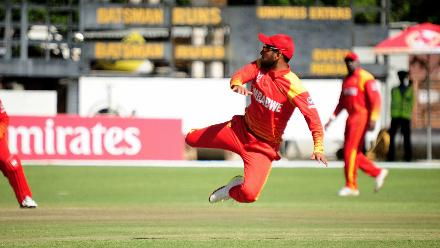 Zimbabwean all-rounder Sikandar Raza attempts to run out Nepal batsman Gyanedra Malla in Zimbawe's opening match of Group B, ICC World Cup Qualifiers in Bulawayo at Queens Sports Club, Mar 4 2018.