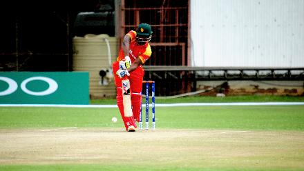 Top order Zimbabwean batsman Solomon Mire plays a drive in the opening match of the Group B, ICC World Cup Qualifier at Queens Sports Club in Bulawayo in which he ended up scoring 52 runs.