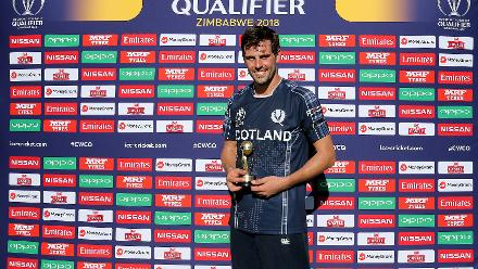 Calum MacLeod of Scotland player of the match the ICC Cricket World Cup Qualifier between Afghanistan and Scotland at the BAC Stadium on March 4, 2018 in Bulawayo, Zimbabwe.
