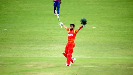Zimbabwe top order batsman Sikandar Raza celebrates one of the fastest centuries in world cricket as the hosts post a total of 380/6 in Bulawayo at Queens Sports Club.