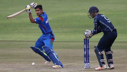 Najibullah Zadran of Afghanistan plays a shot during the ICC Cricket World Cup Qualifier between Afghanistan and Scotland at the BAC Stadium on March 4, 2018 in Bulawayo, Zimbabwe.