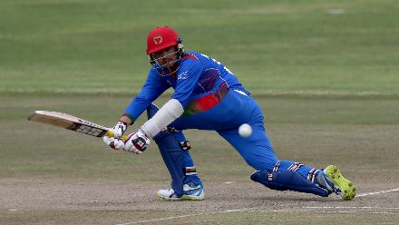 Nasir Jamal of Afghanistan during the ICC Cricket World Cup Qualifier between Afghanistan and Scotland at the BAC Stadium on March 4, 2018 in Bulawayo, Zimbabwe.