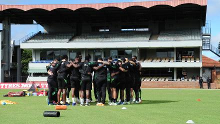 Zimbabwe Cricket Team huddle up before the 1st game vs Nepal at Queens Sports Club Zimbabwe 04 March 2018.