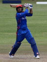 M Nabi of Afghanistan during the ICC Cricket World Cup Qualifier between Afghanistan and Scotland at the BAC Stadium on March 4, 2018 in Bulawayo, Zimbabwe.