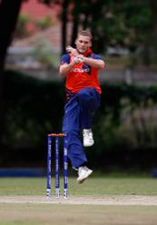 Vivian Kingma of The Netherlands bowls during the ICC Cricket World Cup Qualifier between Ireland and The Netherlands at The Old Hararians Ground on March 4, 2018 in Harare, Zimbabwe.