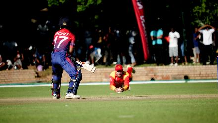 Nepal batsman Rohit Paudel caught out by Craig Ervin after managing to score 30 runs against the hosts Zimbawe in the opening Group B, ICC World Cup Qualifier in Bulawayo at Queens Sports Club, Mar 4 2018.