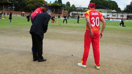 At the toss Zimbabwe capatin Greame Cremer and Nepal captain Paras Khadka for the opening game of the ICC Cricket World Cup Qualifiers at Queens Sports Club Zimbabwe 04 March 2018.
