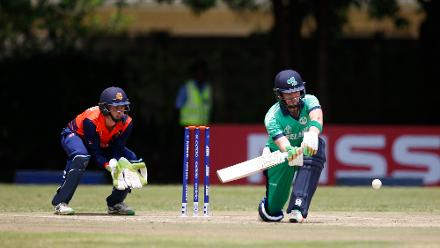 Andrew Balbirnie of Ireland scores runs during the ICC Cricket World Cup Qualifier between Ireland and The Netherlands at The Old Hararians Ground on March 4, 2018 in Harare, Zimbabwe.