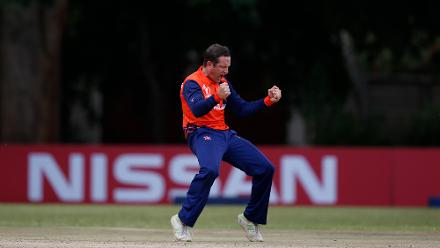 Roelof van der Merwe of The Netherlands celebrates the wicket of William Porterfield of Ireland during the ICC Cricket World Cup Qualifier between Ireland and The Netherlands at The Old Hararians Ground on March 4, 2018 in Harare, Zimbabwe.