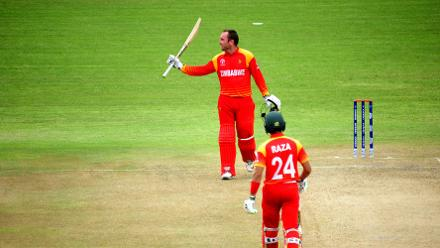 Zimbabwe batsman Brendan Taylor celebrates a much deserved century at Queens Sports Club as the hosts post a competitive total of 380/6 in Bulawayo.