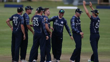 Richie Berrington of Scotland celebrates with teamates after taking the wicket of Rahmat Shah of Afghanistan during the ICC Cricket World Cup Qualifier between Afghanistan and Scotland at the BAC Stadium on March 4, 2018 in Bulawayo, Zimbabwe.