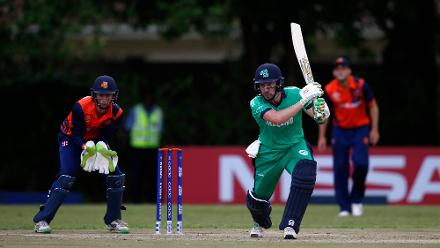 Scott Edwards of The Netherlands looks on as Andrew Balbirnie of Ireland scores runs during the ICC Cricket World Cup Qualifier between Ireland and The Netherlands at The Old Hararians Ground on March 4, 2018 in Harare, Zimbabwe.