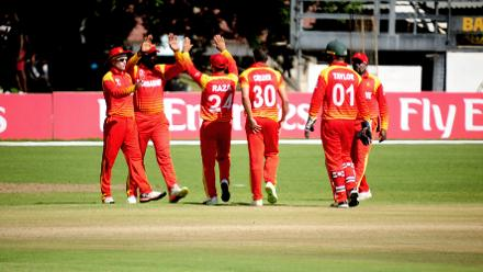 Team Zimbabwe celebrates LBW wicket of Sharad Vesawkar at Queens Sports Club in the opening match of Group B, ICC World Cup Qualifiers in Bulawayo.