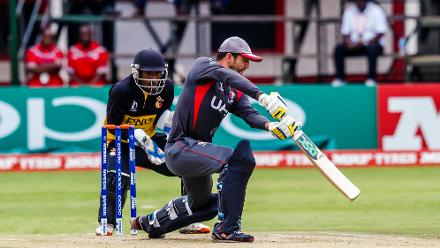 UAE captain Rohan Mustafa in action during a group A World Cup Qualifier match between Papua New Guinea and the United Arab Emirates at Harare Sports Club March 4 2018.