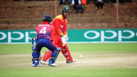 Experienced top order Zimbabwe batsman Brendan Taylor plays a fancy reverse sweep in their opening Group B, ICC World Cup Qualifier against Nepal at Queens Sports Club in Bulawayo.