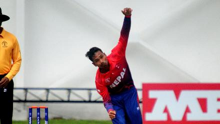 Lalit Rajbanshi of Nepal bowls during their their Group B ICC World Cup Qualifier match at Queens Sports Club in Bulawayo against Zimbabwe on the 4th March 2018.
